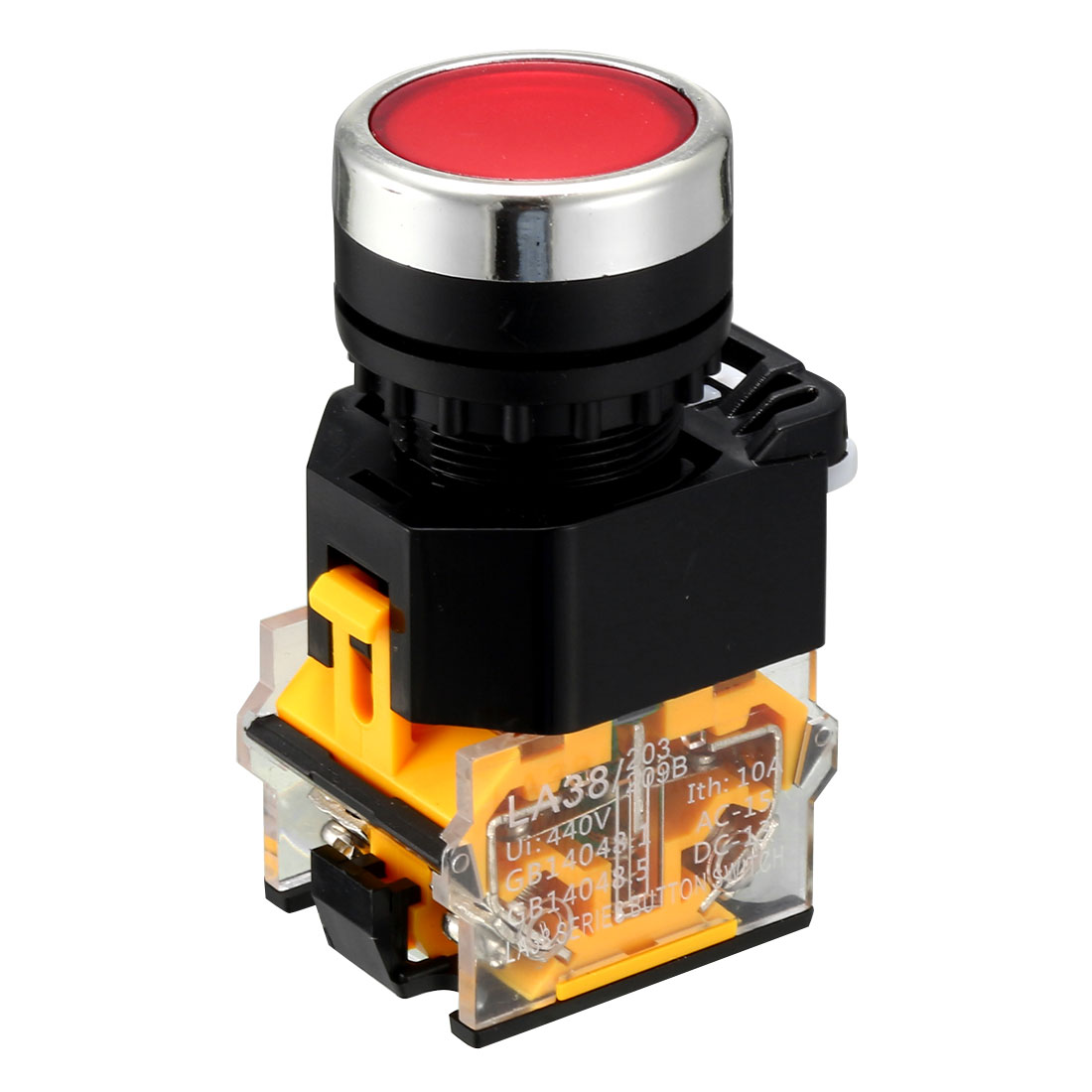AC400V 10A 22mm Dia Thread Panel Mount DPST 4 Screw Terminal Momentary Red Plastic Cap Push Button Switch