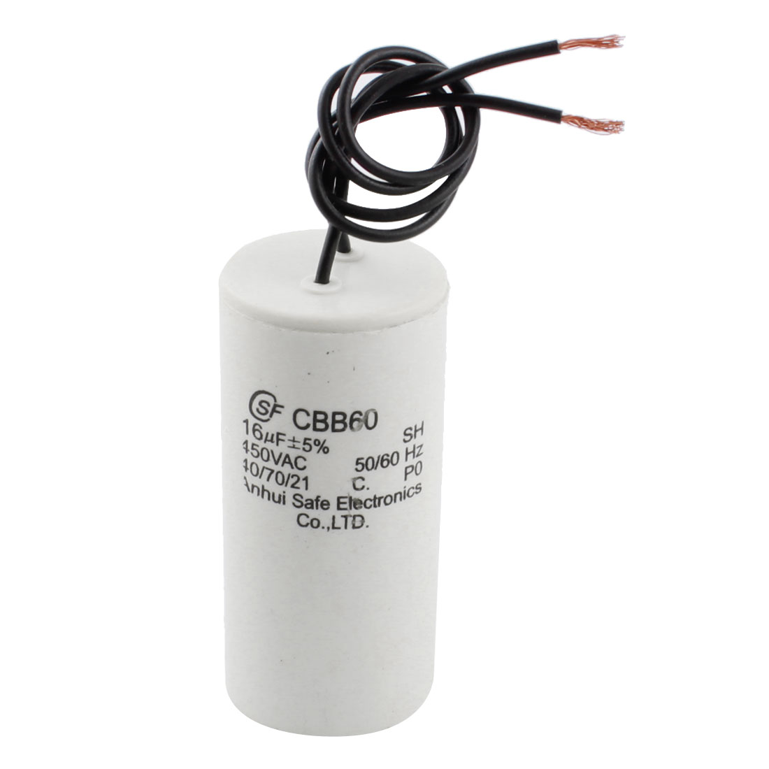 CBB60 AC 450V 16uf 5% Tolerance 2-Wired Polypropylene Film Air Conditioner Washing Machine Motor Run Capacitor