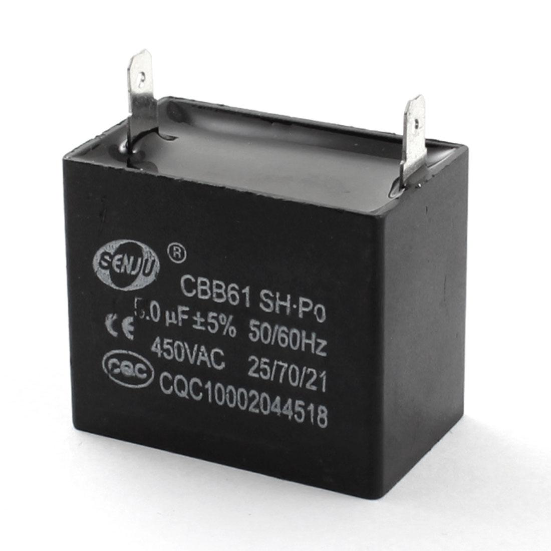 CBB61 AC 450V 5uF Rectangle Polypropylene Film Air Conditioner Ceiling Fan Motor Running Capacitor