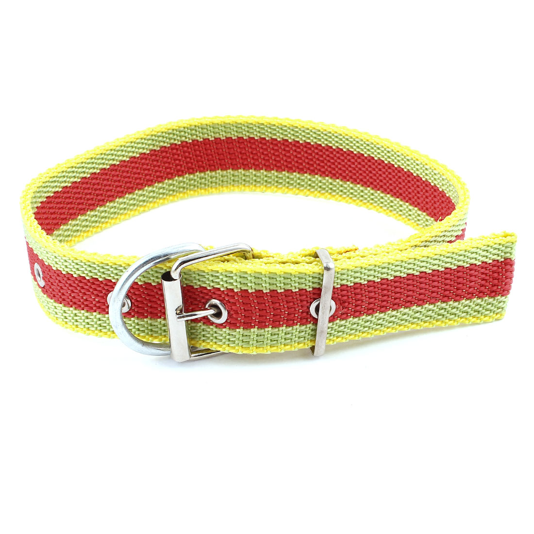 Single Pin Buckle Adjustable Belt Pet Dog Doggy Collar Necklace Red Yellow