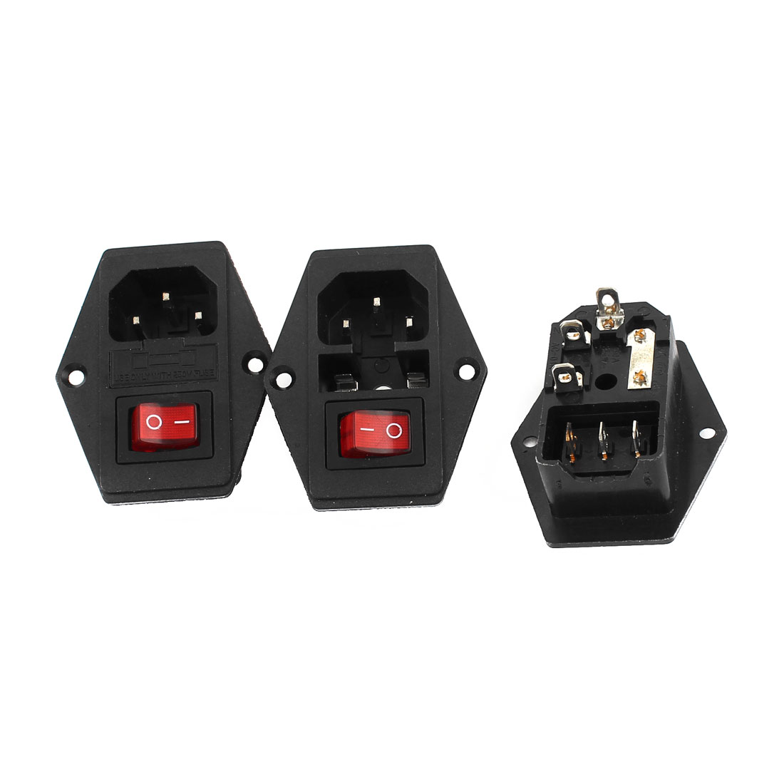 3Pcs Red Pilot Lamp 3Pin Rocker Switch Fuse Holder IEC320 C14 Inlet Power Socket