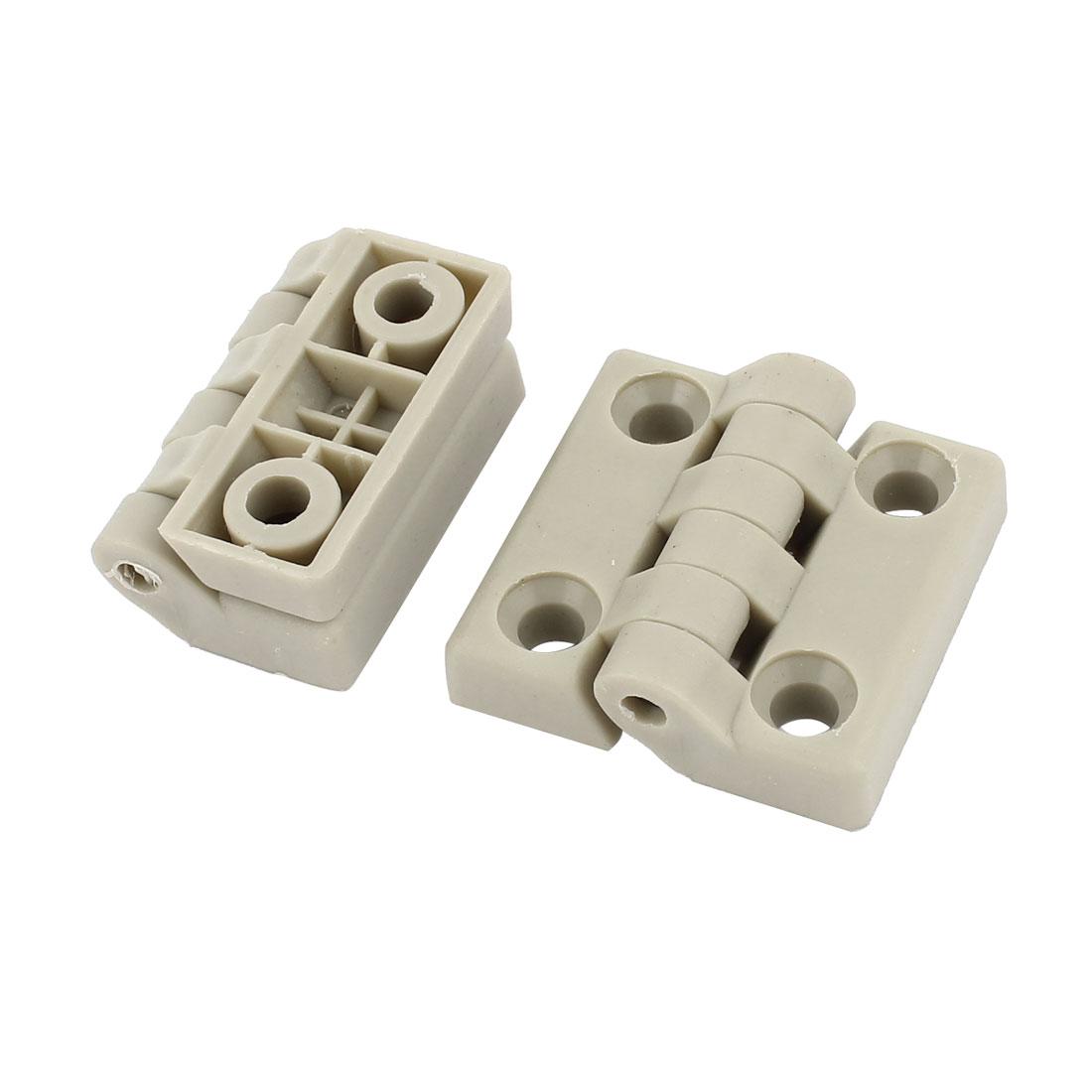 2pcs 48 x 30 x 19mm Folding 7m Hole Dia Industrial Plastic Hinge Gray