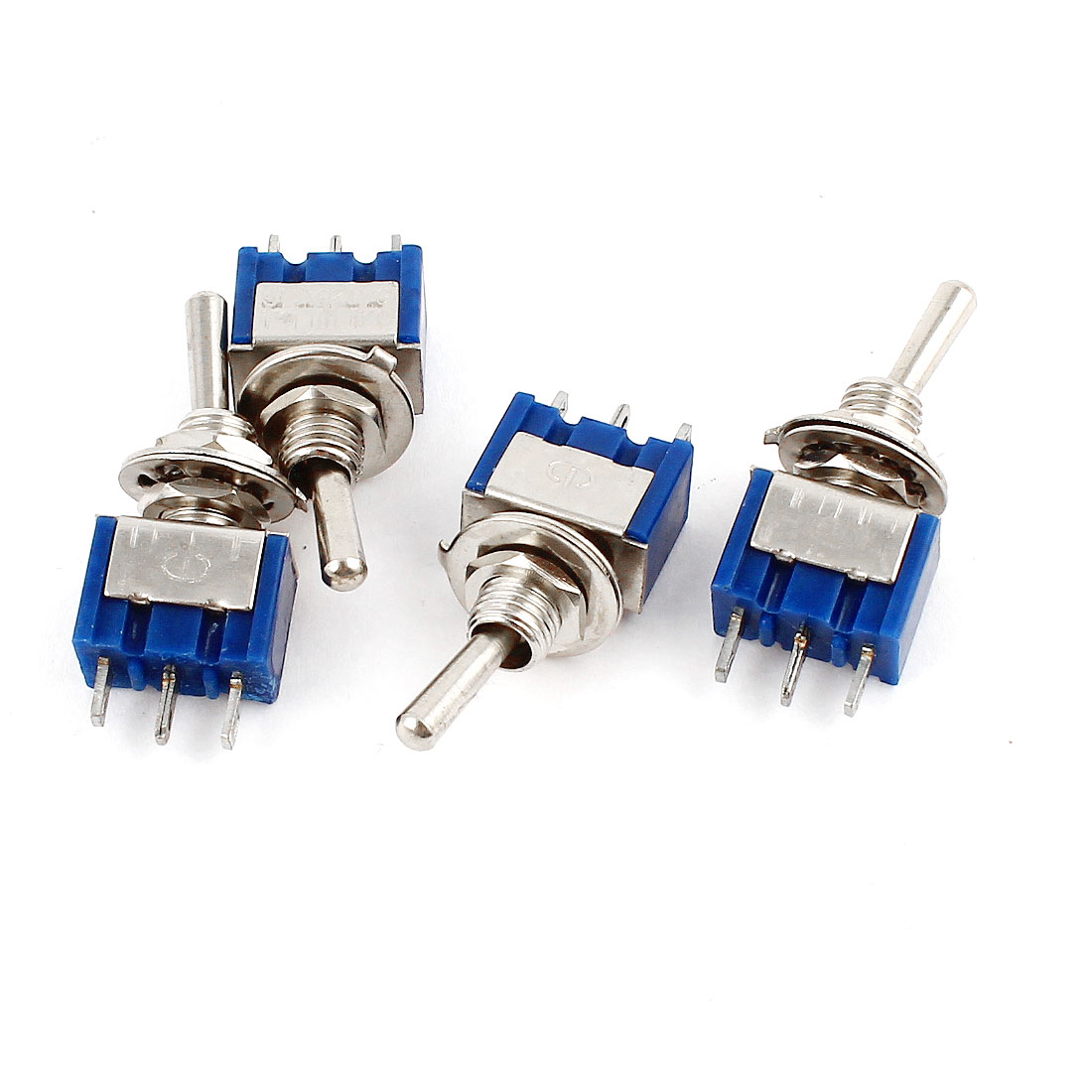 4PCS AC125V 6A Panel Mount SPDT On/Off/On Blue Toggle Switches