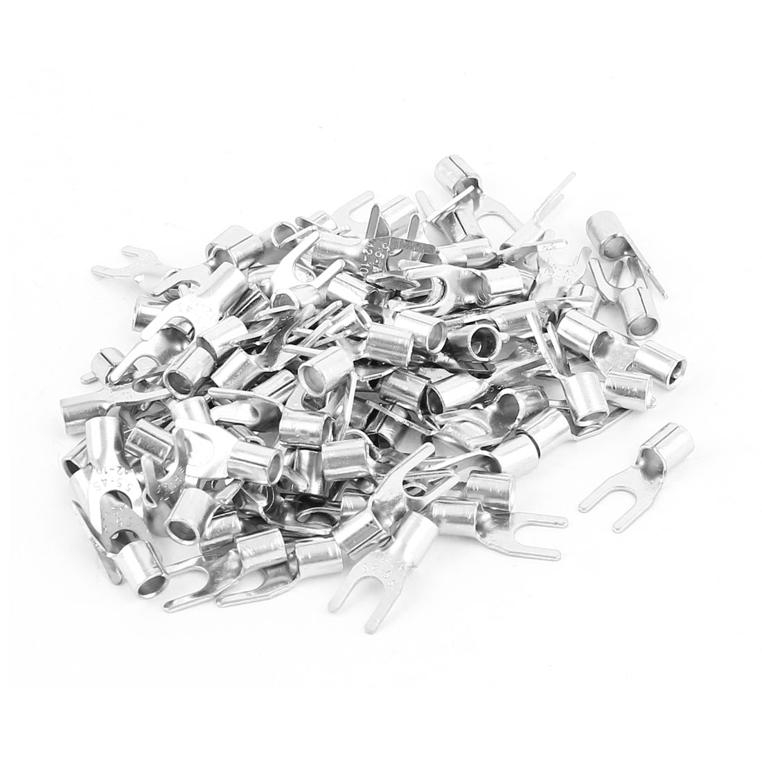 100pcs SNBS5.5-4 Fork Type Non-Insulated Spade Cable Terminals for AWG12-10