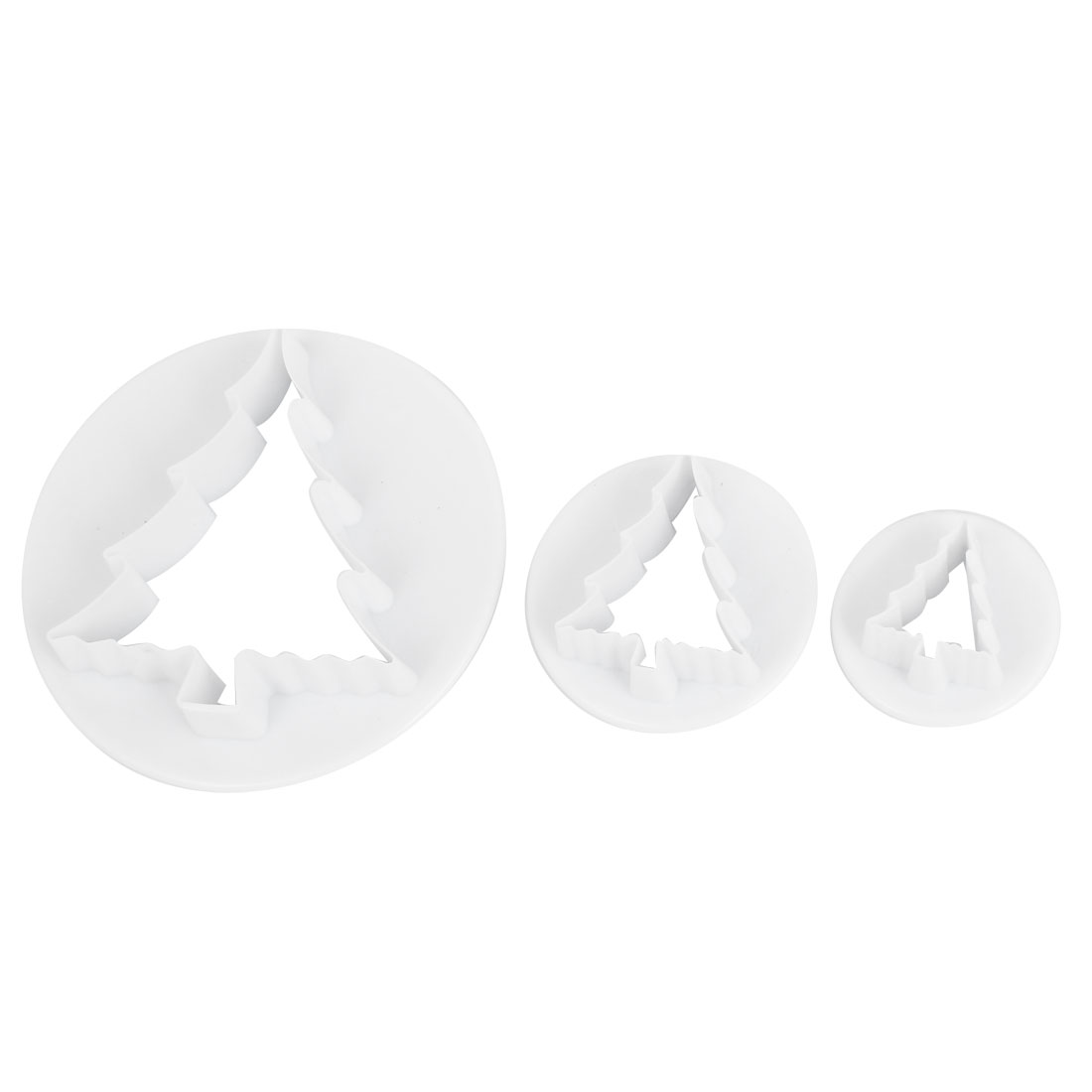 White Pastry Dessert Christmas Tree Design Cookie Sugarcraft Cutter Mold 3 in 1
