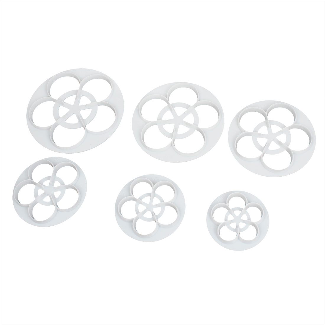 6 in 1 Kitchen DIY Cake Pastry Shaping Flower Style Cutter Mold White
