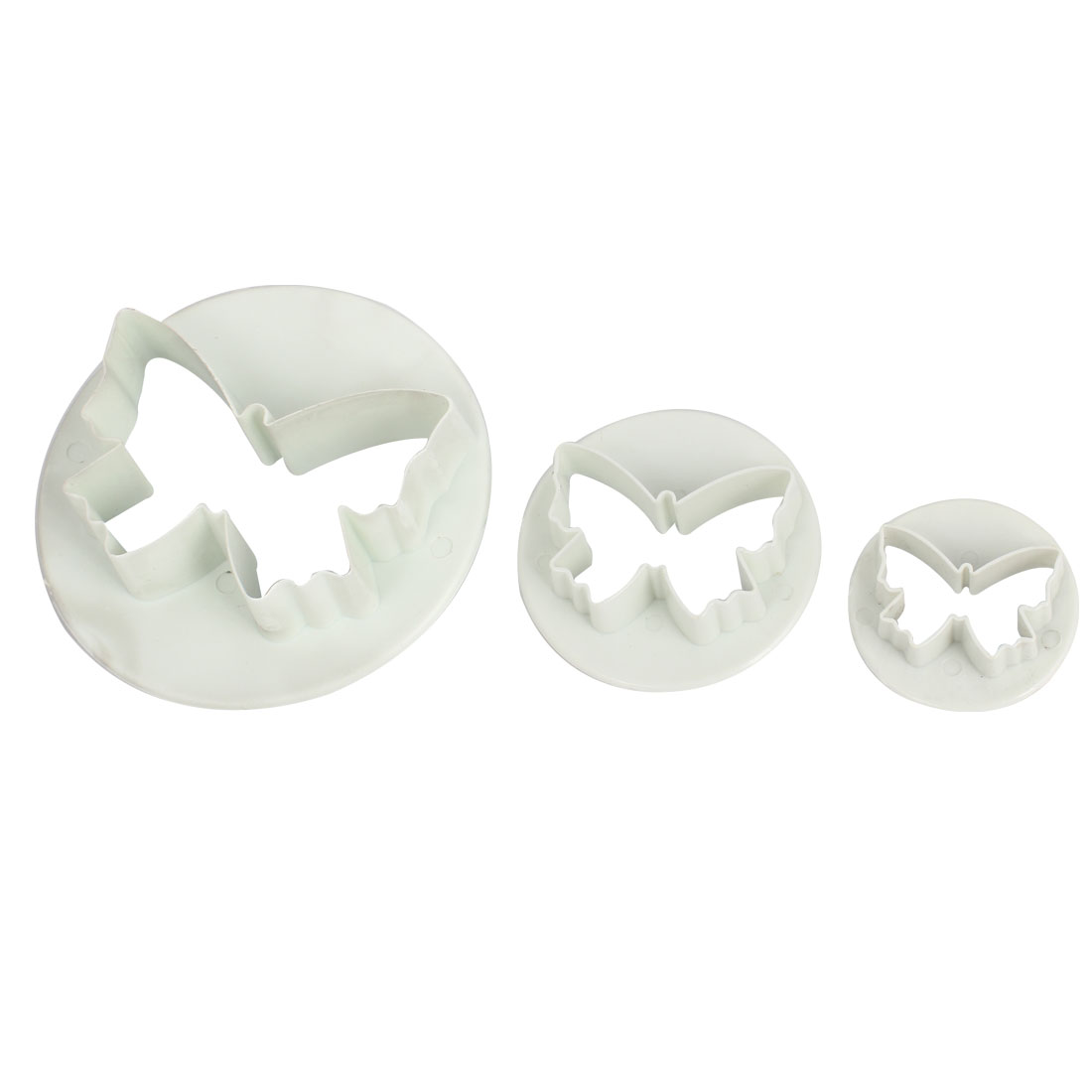 3 in 1 White Plastic DIY Butterfly Shape Cookie Biscuit Cutter Mold Mould