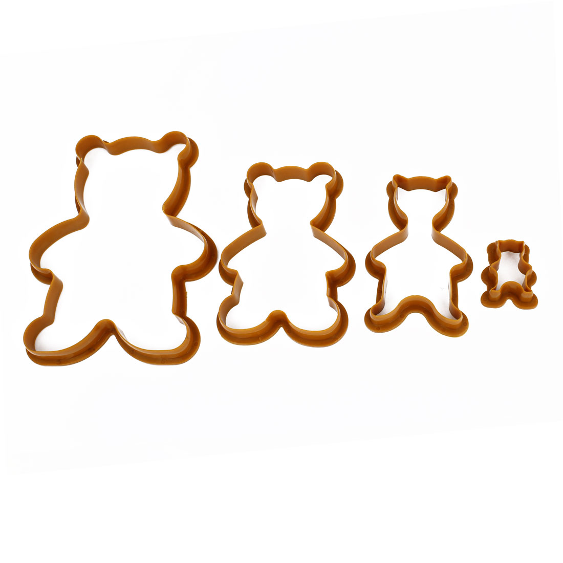 4 in 1 Brown Plastic DIY Bear Shape Cookie Biscuit Cutter Mold Mould