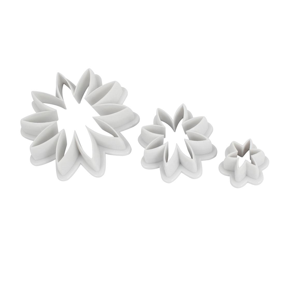 White Pastry Dessert Chrysanthemum Design Cookie Sugarcraft Cutter Mold 3 in 1