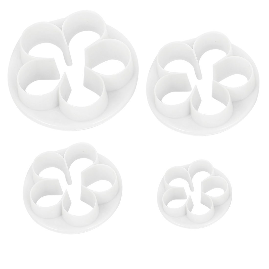 White Pastry Dessert Rose Design Cookie Sugarcraft Cutter Mold 4 in 1