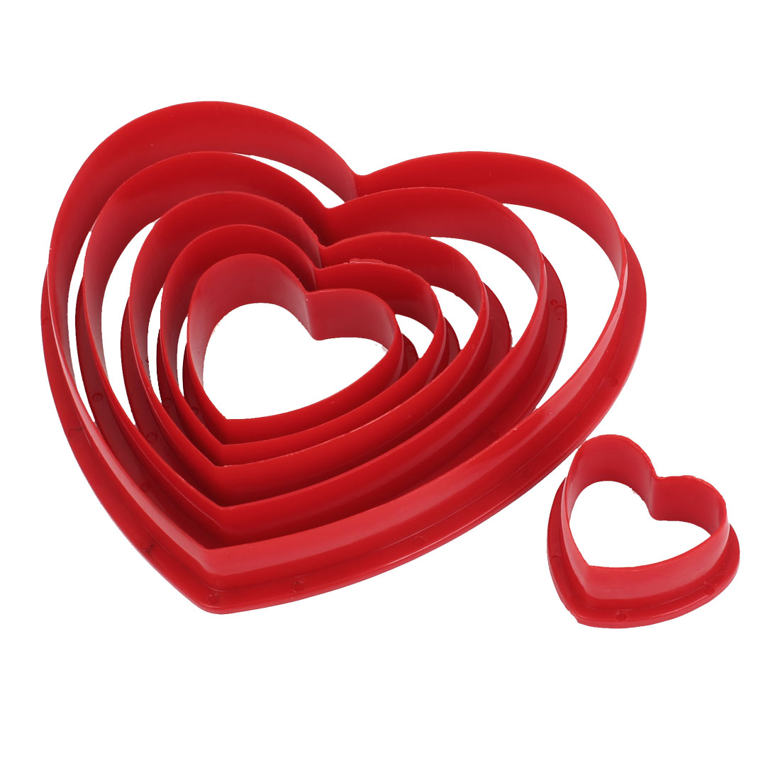 6 in 1 Kitchen DIY Cake Pastry Shaping Heart Style Cutter Mold Red