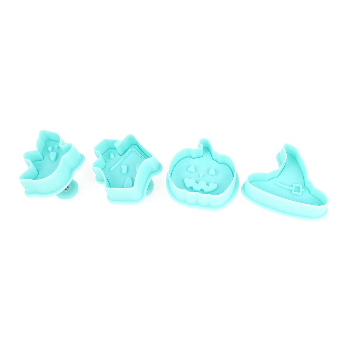 Cyan Halloween Ghost Pumpkin Shaped Craft Paste Cake DIY Plunger Cutters 4 Pcs