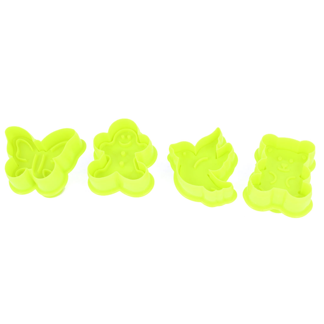 Yellow Green Butterfly Bird Shaped Craft Paste Cake DIY Plunger Cutters 4 Pcs