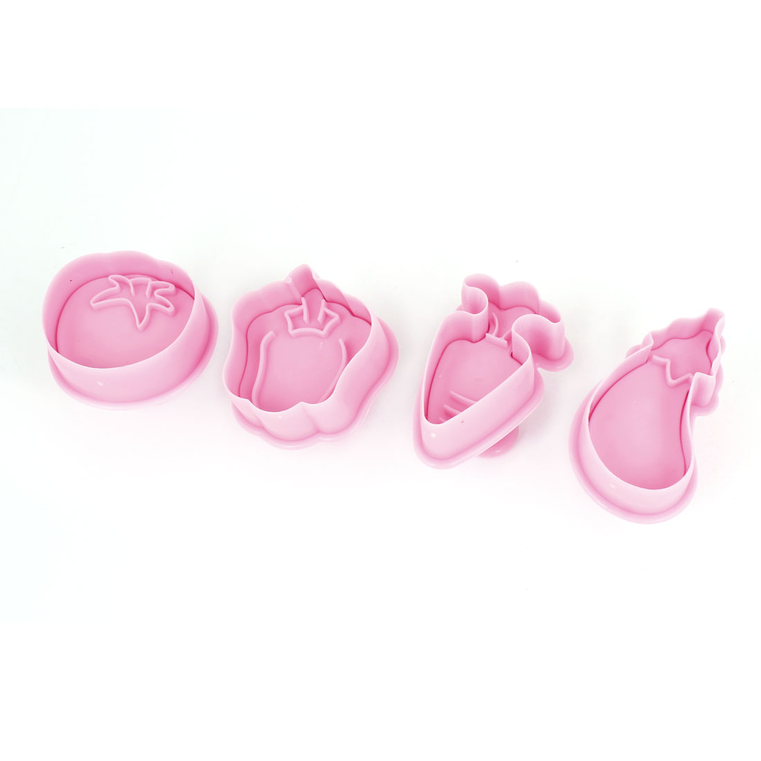 Kitchen Pink Eggplant Carrot Shaped Craft Paste Cake DIY Plunger Cutters 4 Pcs