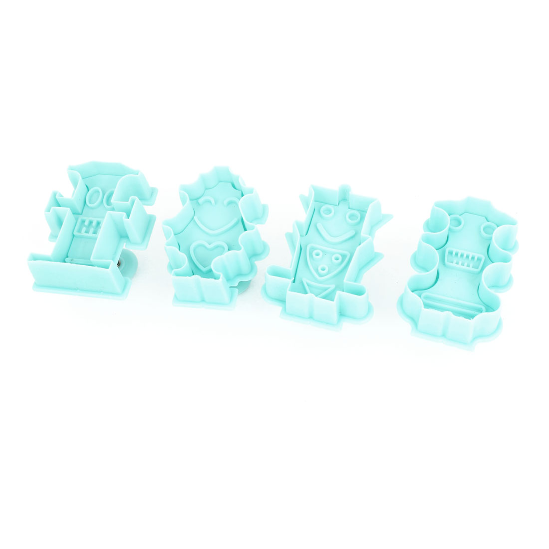 4 Pieces Robot Style Cake Shaping Cutter Cookie Pastry Plunger Mold Aqua