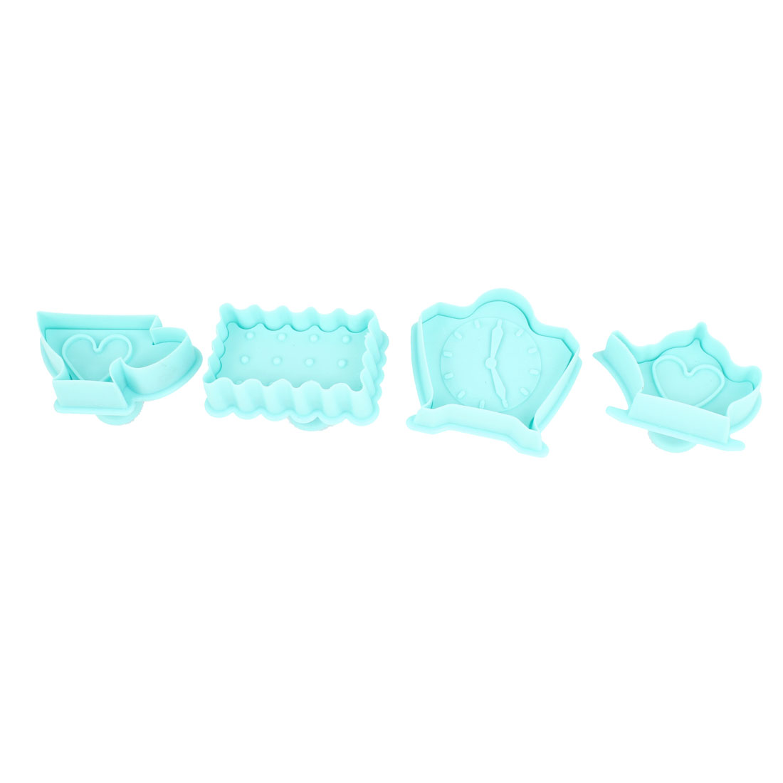 Kitchen Cyan Teapot Cup Shaped Craft Paste Cake DIY Plunger Cutters 4 Pcs