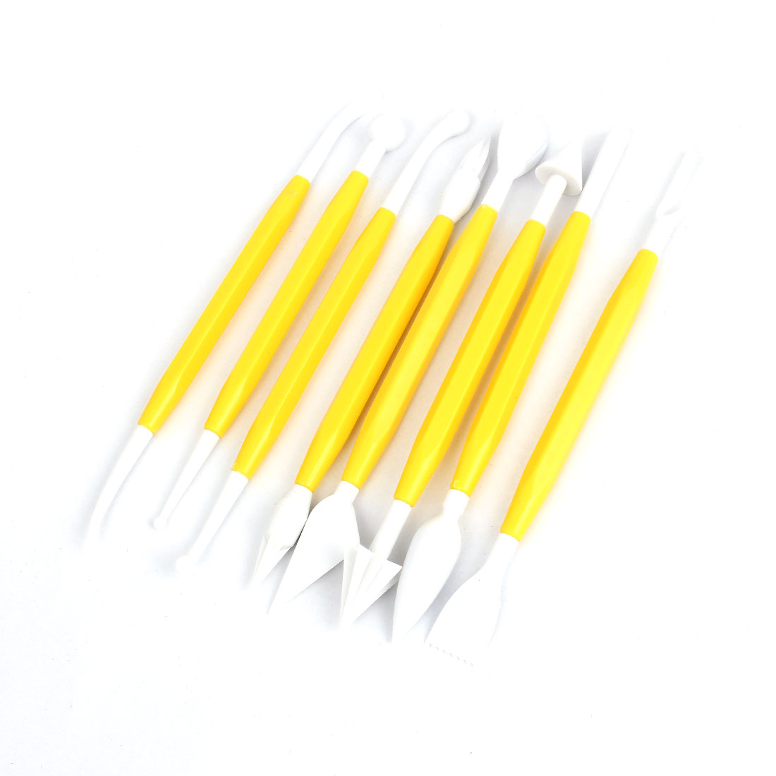 8 in 1 Flower Sugarcraft Fondant Cake Decorating Modelling Tools Yellow White