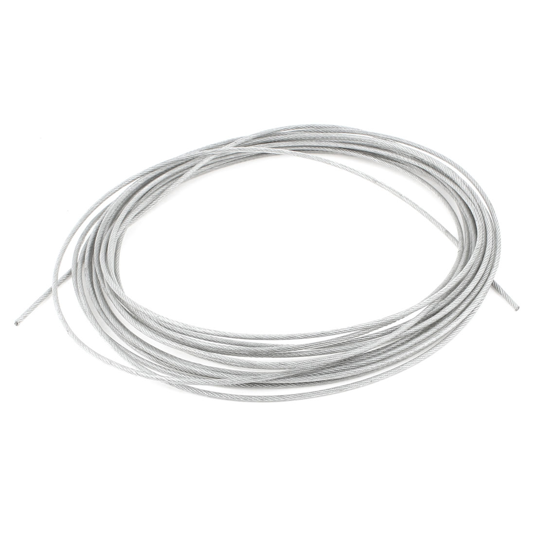 3mm Dia Steel Clear PVC Coated Flexible Wire Rope Cable 15 Meter