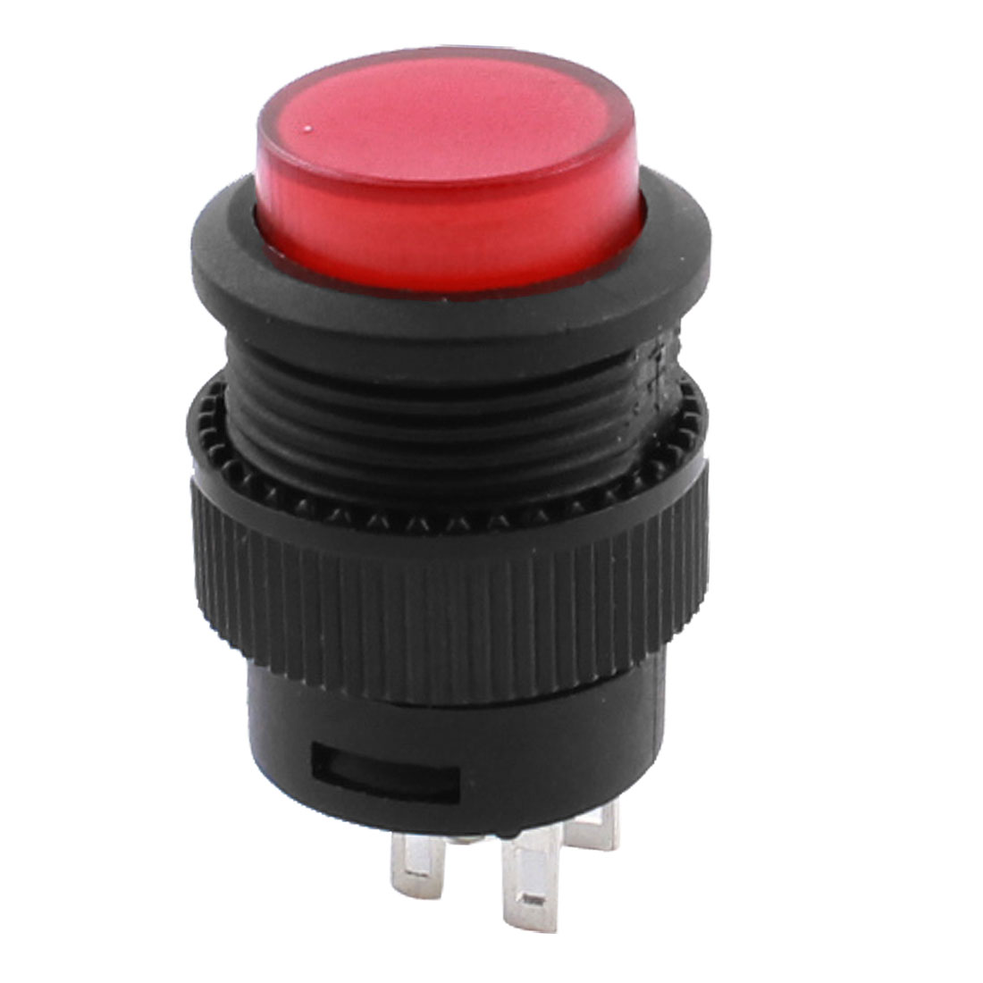 Red Light 4Pin 15mm Thread Mounting Black SPST Momentary Push Button Switch AC250V 3A