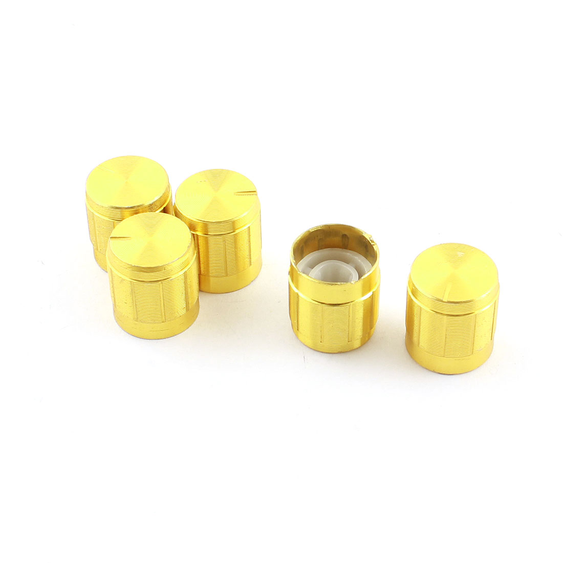 5 Pcs Gold Tone Volume Control Rotary Aluminum Potentiometer Knobs 14mm x 15mm