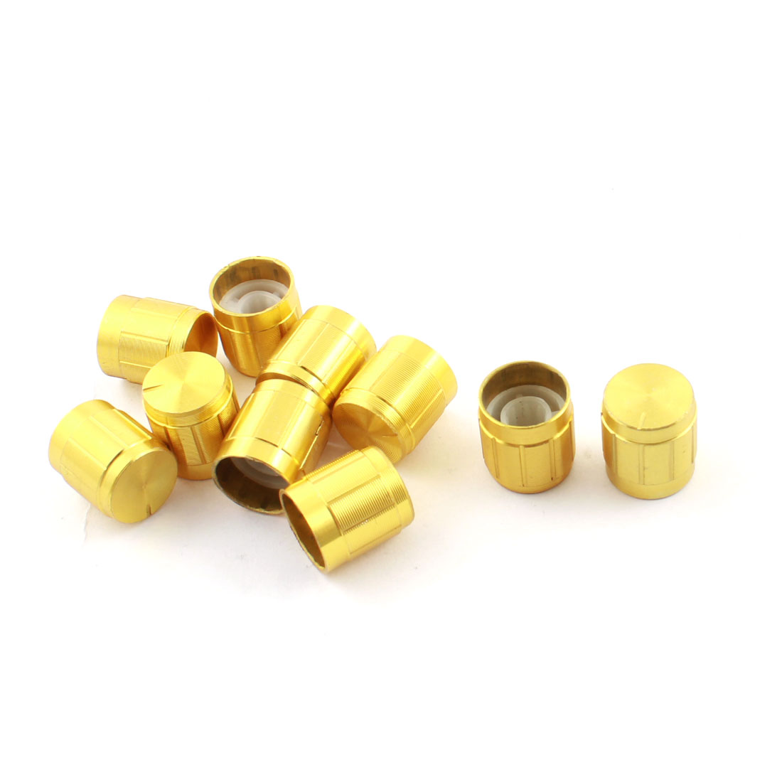 10 Pcs Gold Tone Volume Control Rotary Aluminum Knurled Shaft Potentiometer Knobs 14mm x 15mm