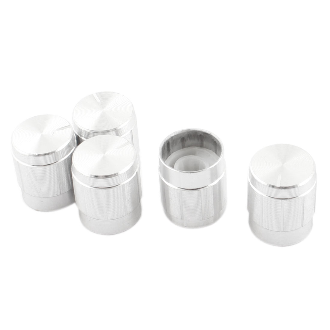 5 Pcs Silver Tone Volume Control Rotary Aluminum Potentiometer Knobs 14mm x 16mm