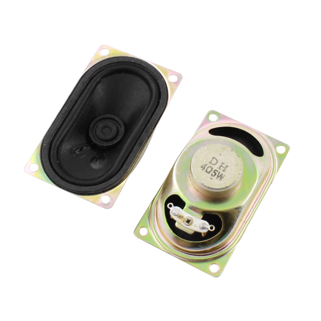 2 Pcs Rectangle Metal Case Magnetic Type Television TV Player Audio Speaker Amplifier Loudspeaker 5W 4 Ohm 71mm x 41mm