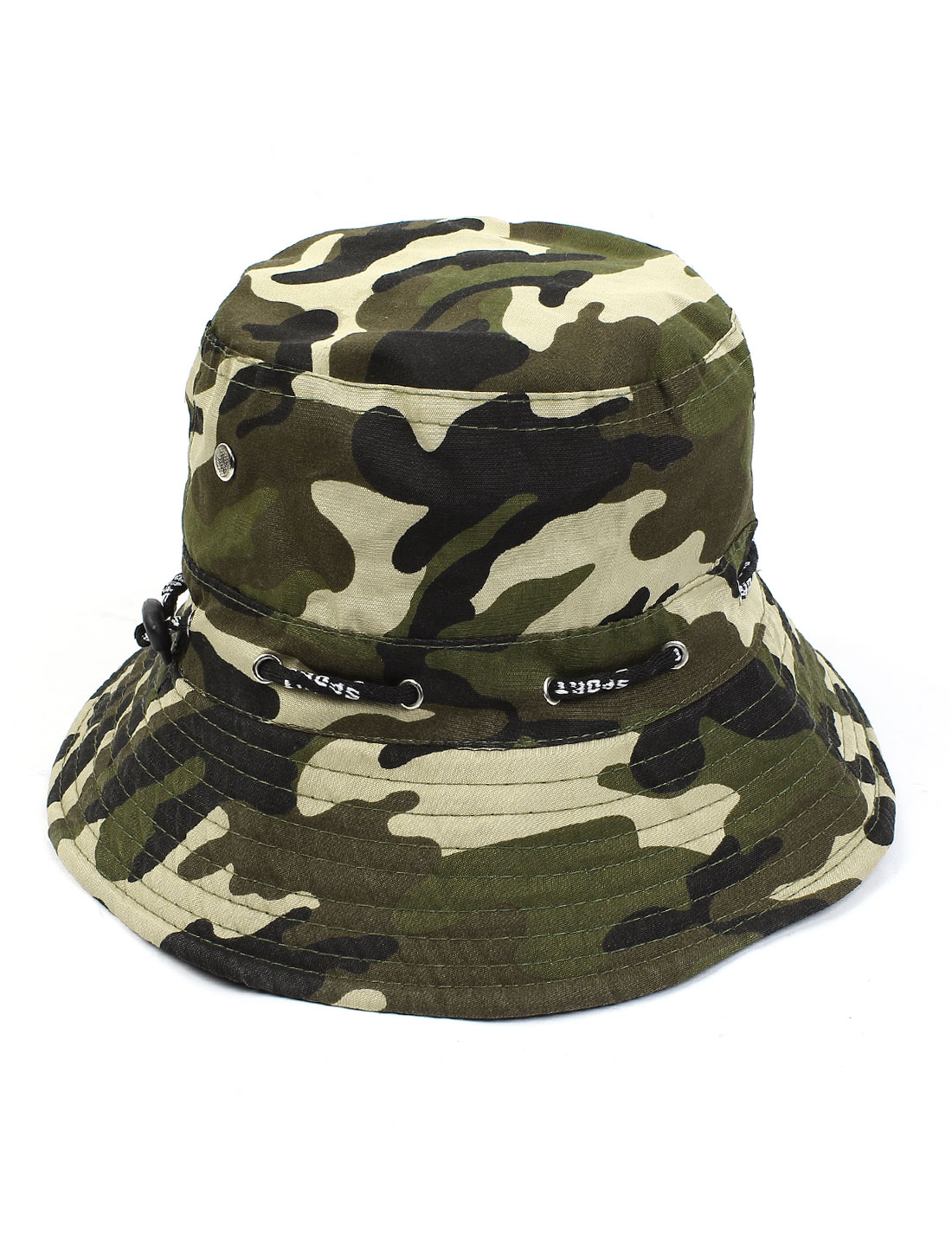 Sand Beach Leisure Round Brim Sun Visor Camouflage Print Bucket Hat Cap for Unisex