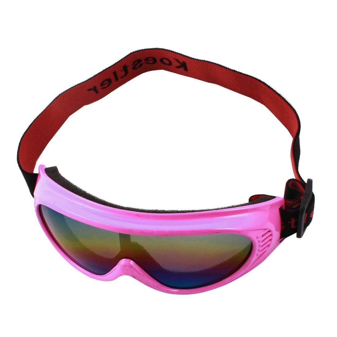 Woman Fushcia Full Frame Colorful Lens Motorbike Snowboarding Eye Protector Goggles