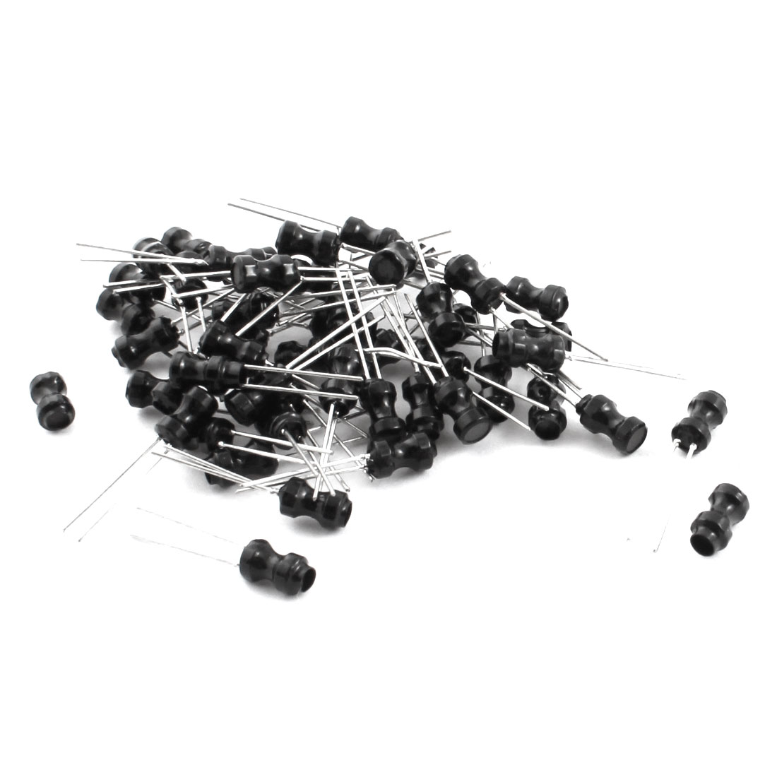 50 PCS Radial Leaded 10UH 500mA 10% 4x6mm Black UL-polyolefin Coated Magnetic Core Inductors