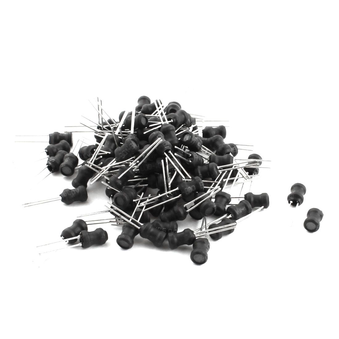 100Pcs 10UH 1A 10% Radial Leads Black UL-polyolefin Coated Magnetic Core Inductors 5x7mm