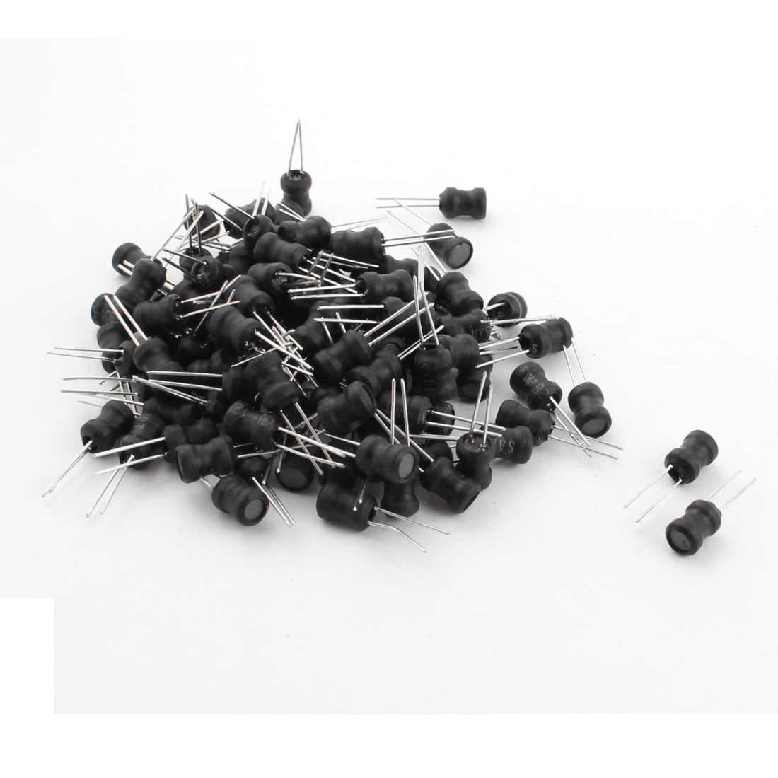 100Pcs 3.3mH 300mA 6x8mm 10% Tolerance Radial Lead Inductor Black
