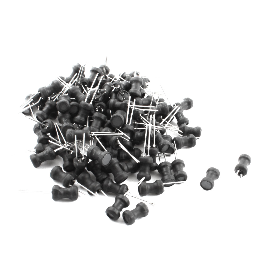 100Pcs 27uH 850mA 6x10mm 10% Tolerance Shielded Radial Lead Inductor Black