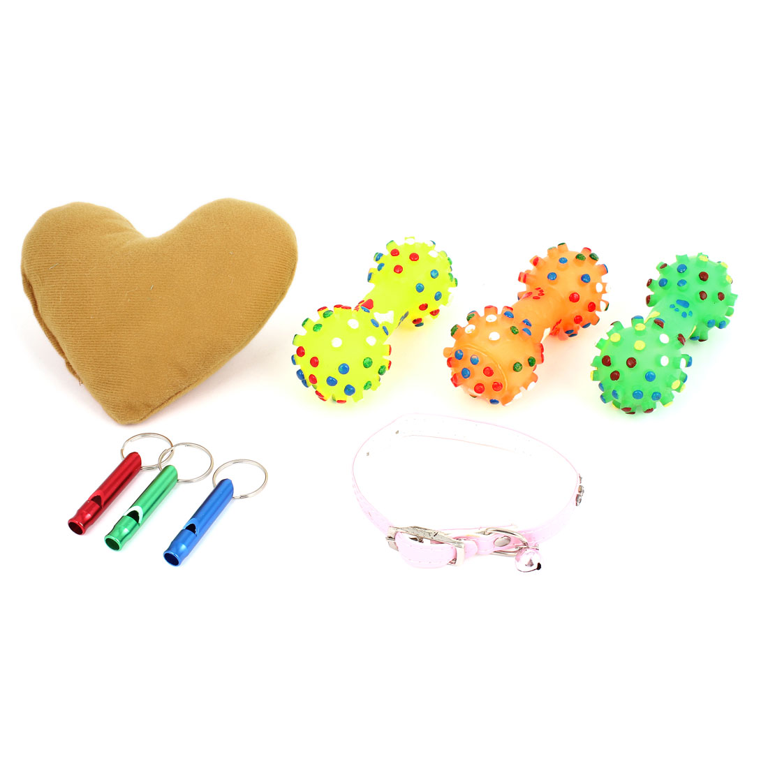 Whistle Necklace Neck Pillow Squeaky Chewing Toy 8 in 1 Set for Pet Dog Doggy