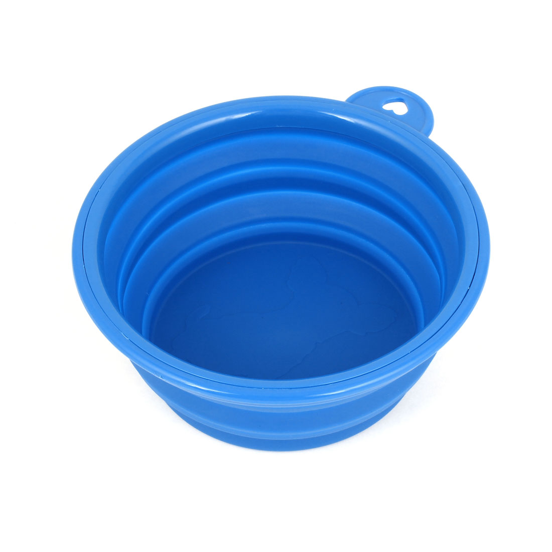 13cm Diameter 5.5cm Height Foldable Doggie Dog Pet Rubber Eat Food Water Bowl Dish Blue