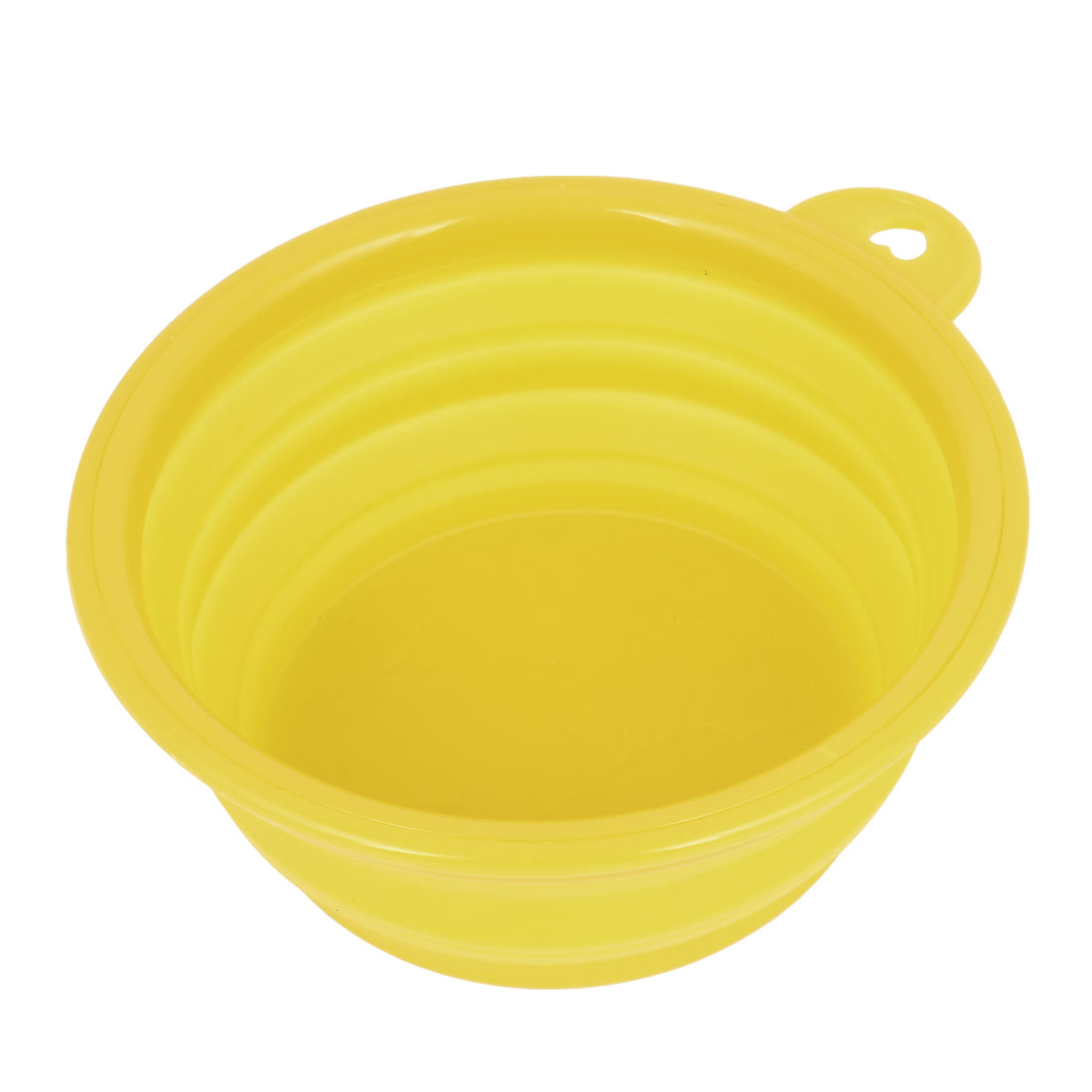 13cm Diameter 5.5cm Height Foldable Doggie Dog Pet Rubber Eat Feeding Food Water Bowl Dish Yellow