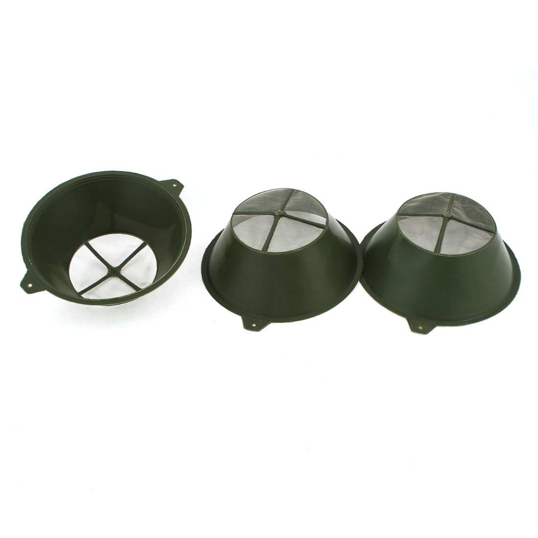 3pcs Industrial Army Green 8cm Dia Nylon Net Plastic Paint Strainers