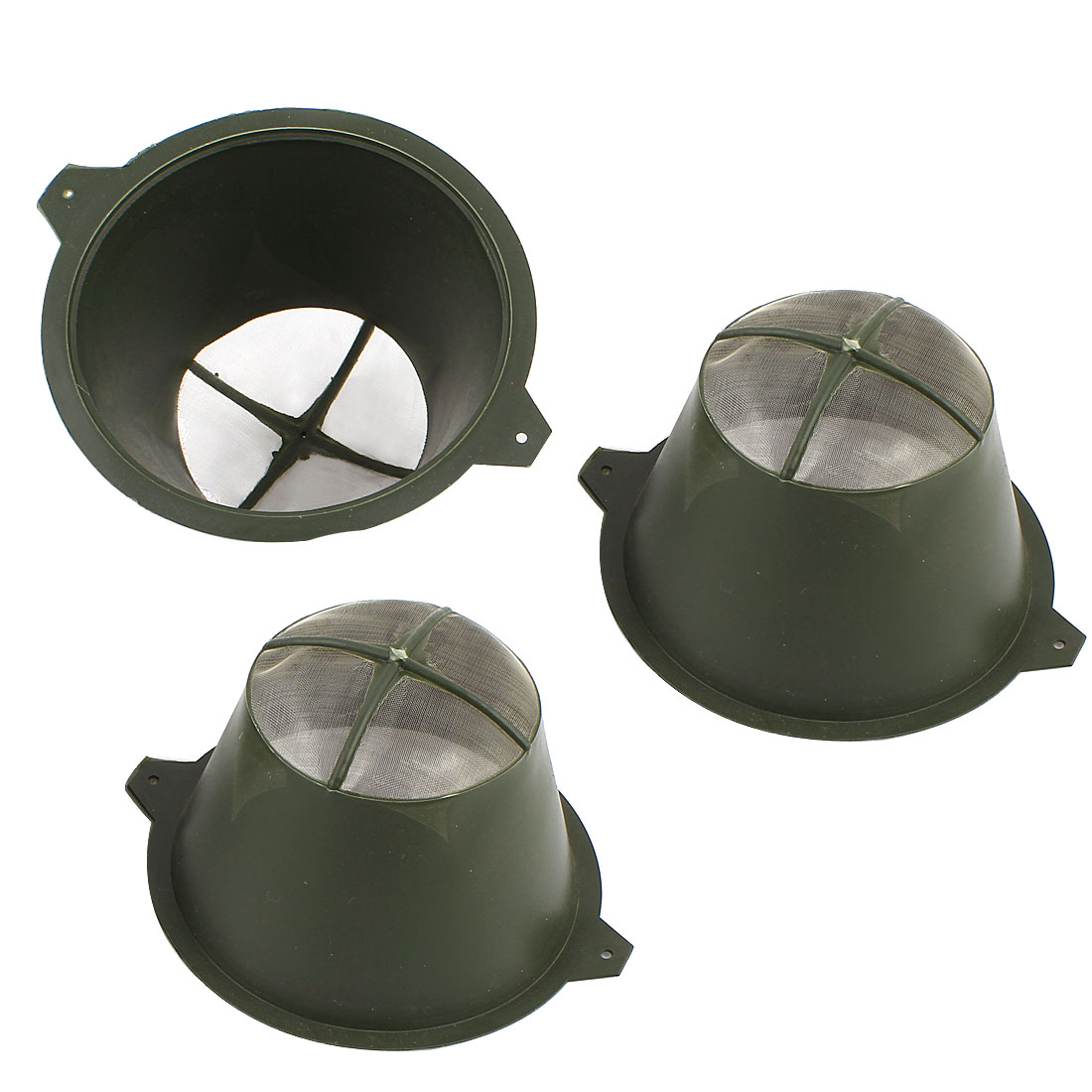 3Pcs 7mm Nylon Mesh Dia Plastic Filters Strainers Sieve Army Green