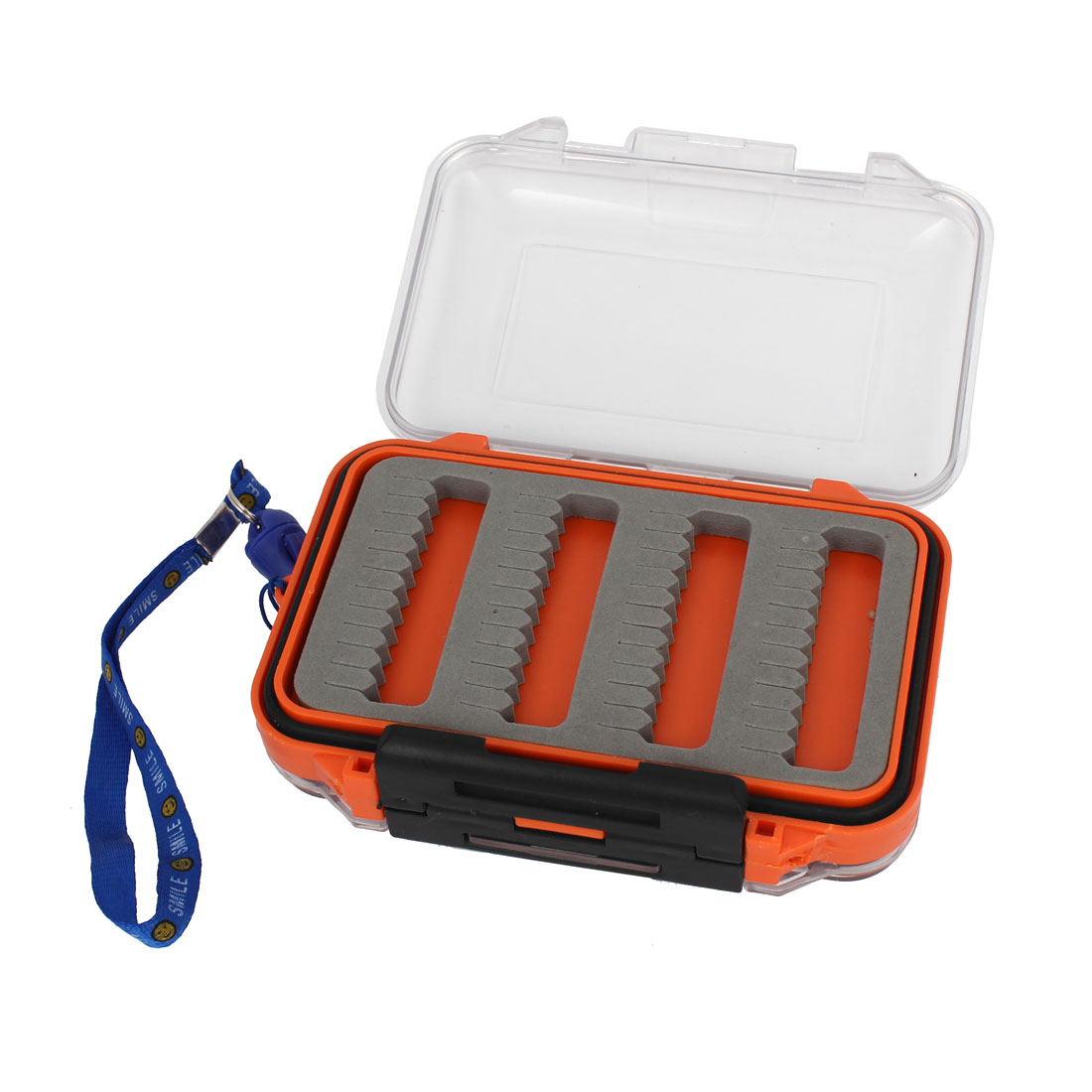 Portable Double Side Press Buckle Fishing Bait Case Box Holder w Blue Strap
