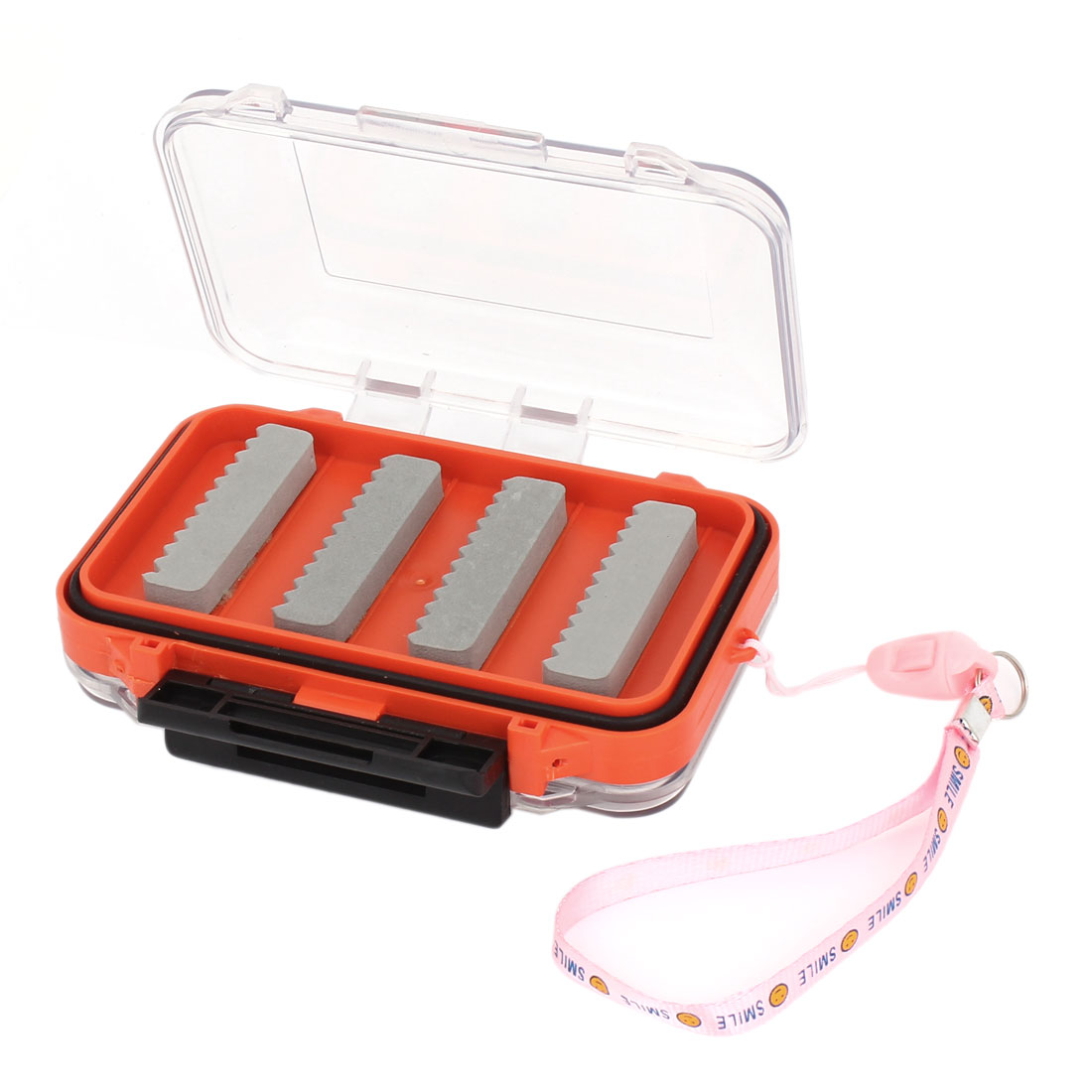 Portable Double Side Press Buckle Fishing Bait Case Box Holder w Pink Strap