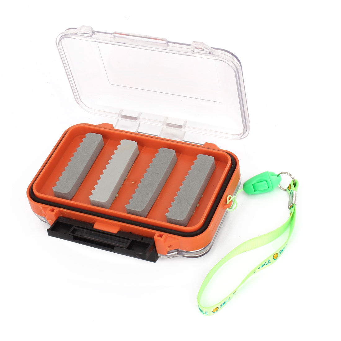 Portable Double Side Press Buckle Fishing Bait Case Box Holder w Green Strap
