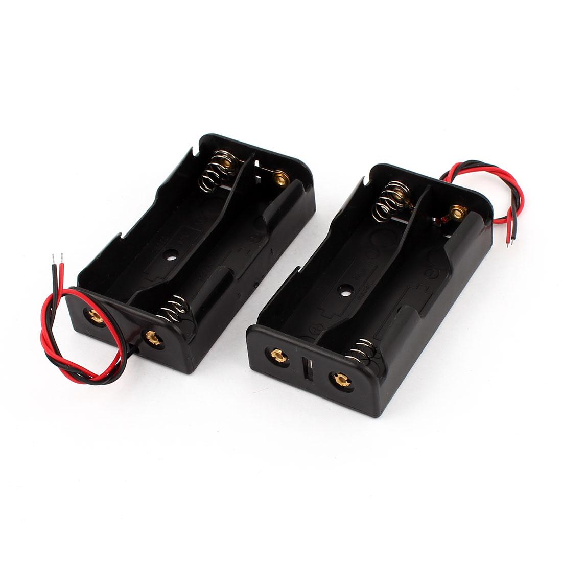 2Pcs Black 2 x 3.7V 18650 Battery Batteries Holder Case w Wire Leads