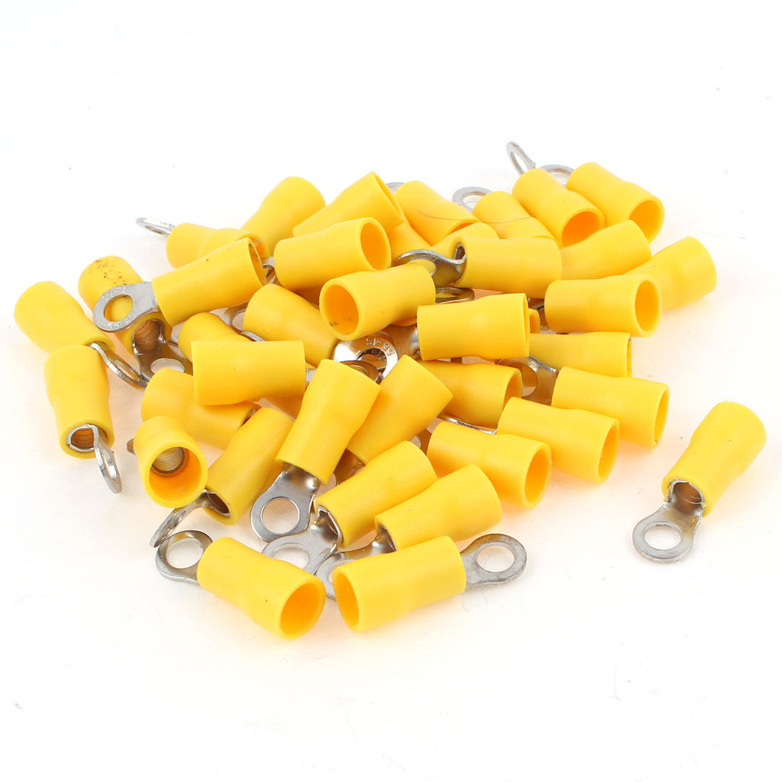 40PCS RV5.5-4 AWG12-10 Electric Wring Ring Yellow Insulating Crimp Terminals