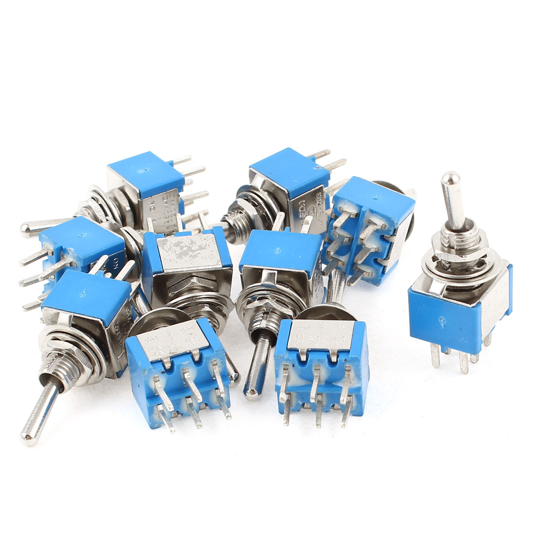 10Pcs DPDT 3 Positions ON/OFF/ON Toggle Switches AC 250V 3A 120V 6A