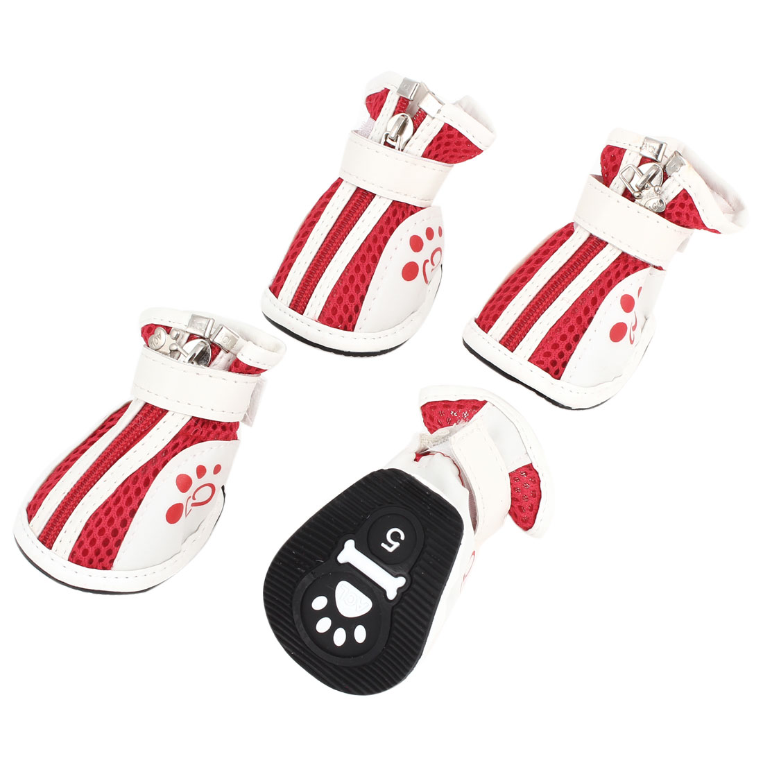 2 Pair Hook Loop Closure Pet Yorkie Dog Meshy Design Shoes Boots Booties White Red Size S