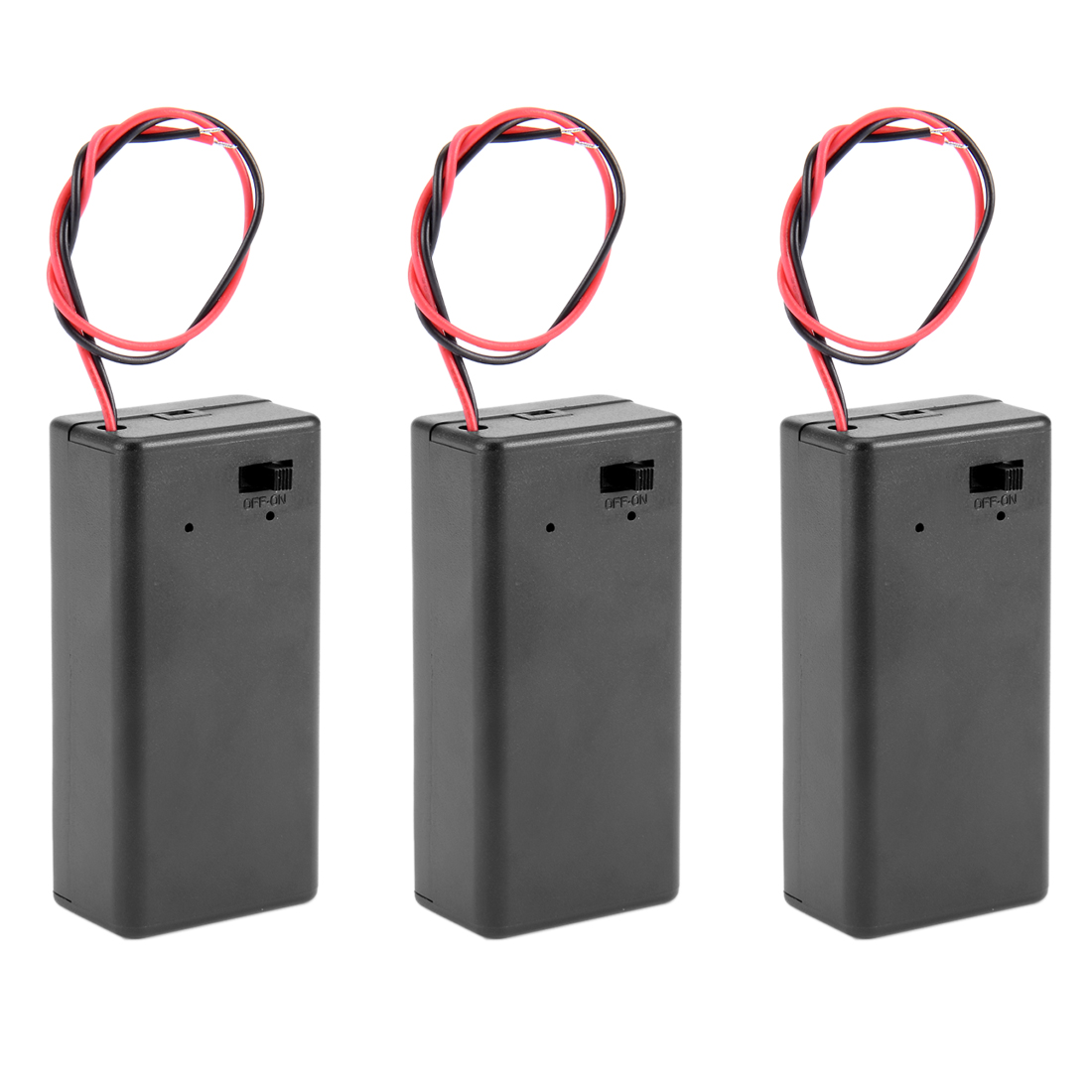 3pcs Two Wire Leads ON/OFF Switch Black 9V Battery Holder Case w Cover