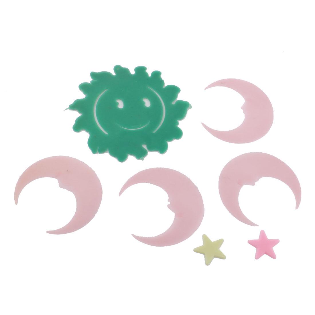 6 in 1 Set Green Sun Pink Star Moon Design Fluorescent Window Sticker Decals