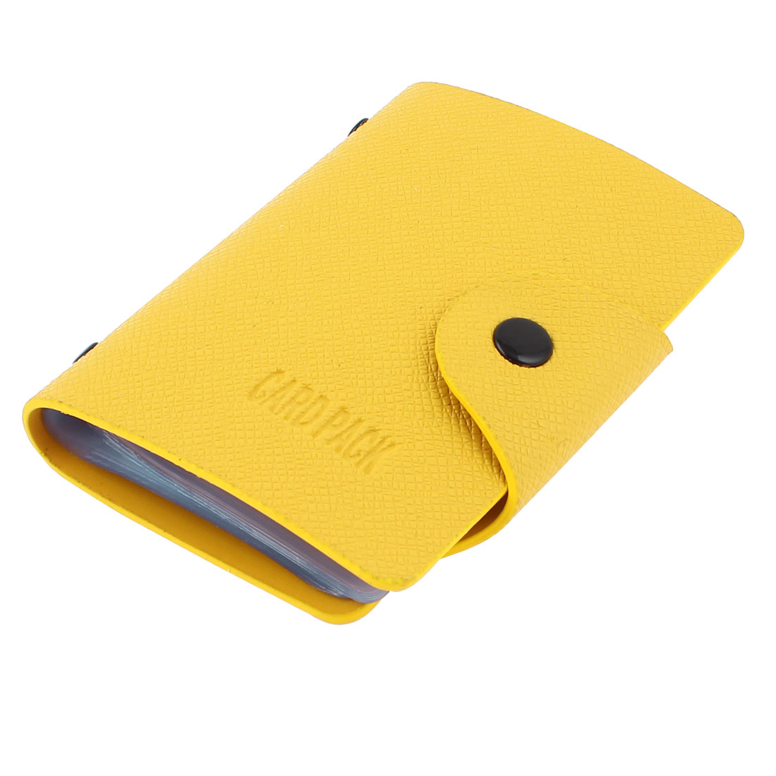 Press Stud Button Closure 20 Pages Faux Leather Business Card Holder Yellow