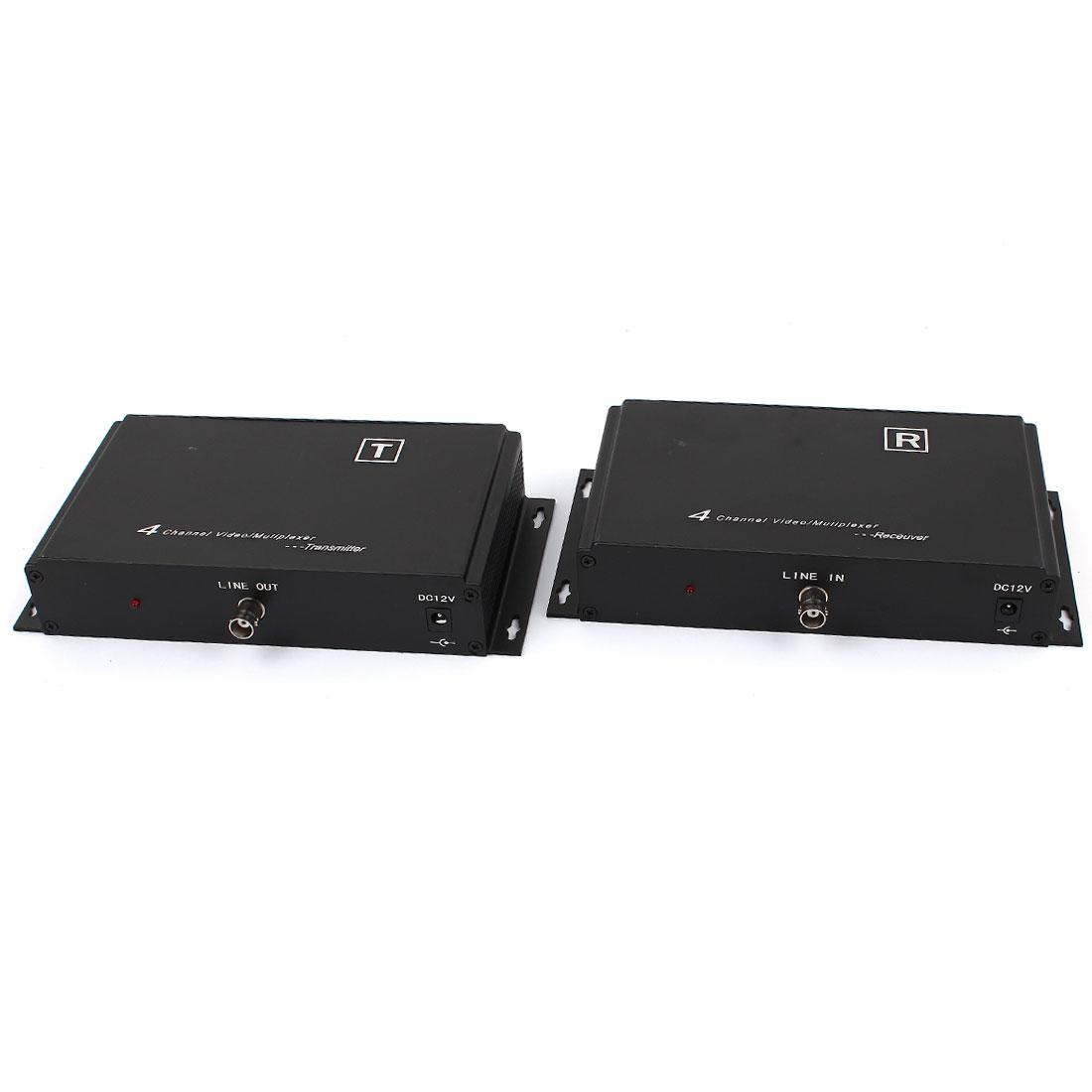 CCTV Security Camera 4 Channel 4CH Video Transmission Splitter Multiplexer Black