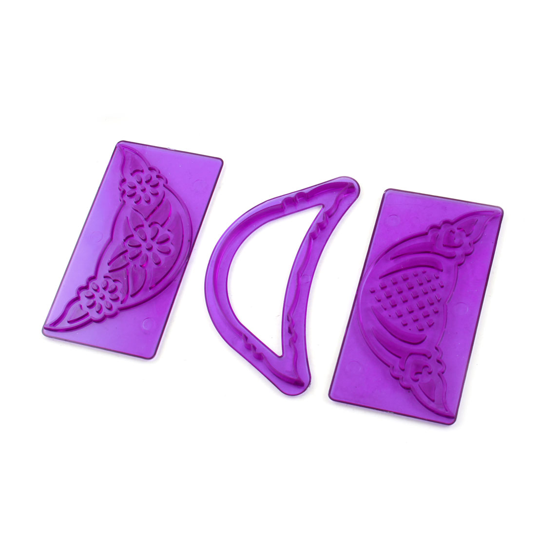 Ribbon Frilling Embosser Decorating Sugarcraft Cutter Cake Mold Purple 3pcs